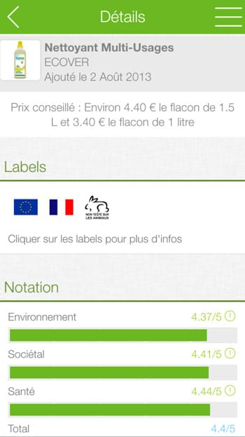 applications écolos : ecocompare