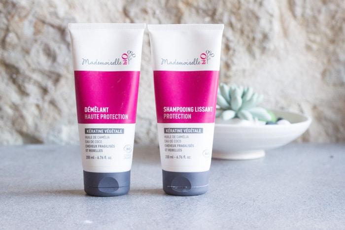 nouveautés cheveux : shampooing et après-shampooing à la kératine Mademoiselle Bio