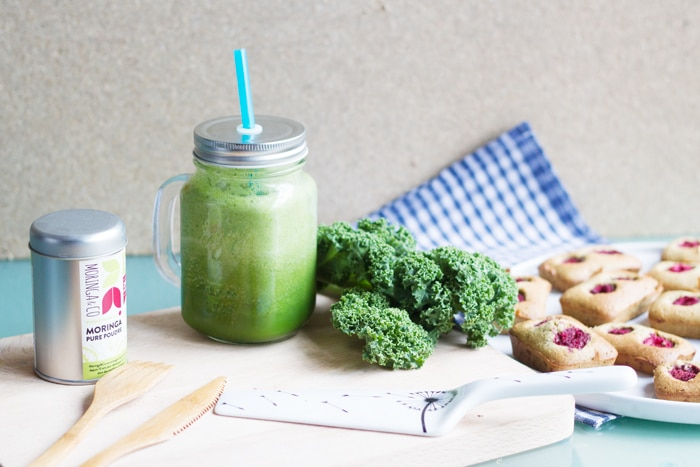 recette moringa : green smoothie supervitaminé et financiers aux framboises