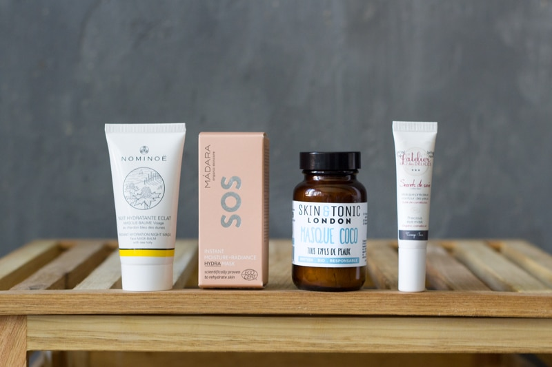 sélection de quatre masques hydratants naturels et originaux